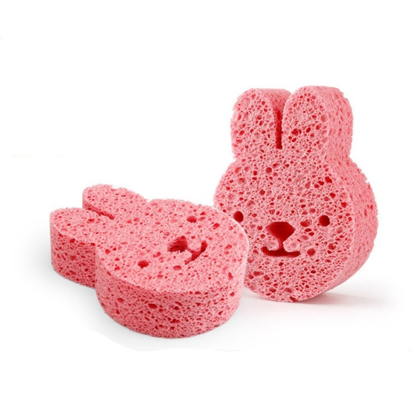 Cartoon Newborn Baby Bath Puff High Absorbent Animal Shape PVA Bath Sponge for Kids Body - Pink - 3N67211114