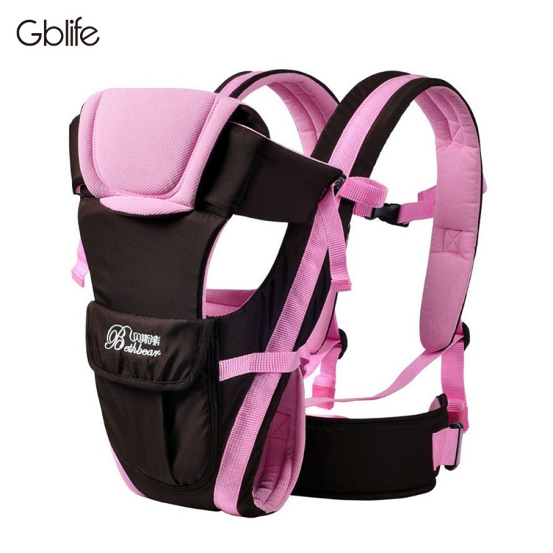 GBlife Multifunctional Breathable Adjustable Buckle Mesh Wrap Baby Carrier Backpack - Hot Pink - 3286395712