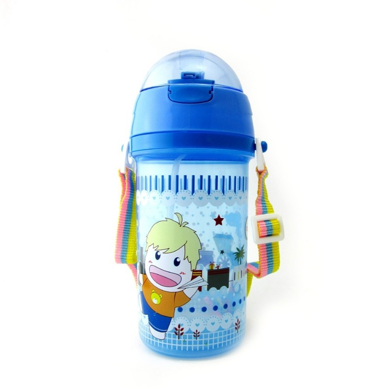 Kid's Water Bottle 550ml With Straw Double Handle Cartoon Cute Baby Water Cup - Blue - 4K86585312