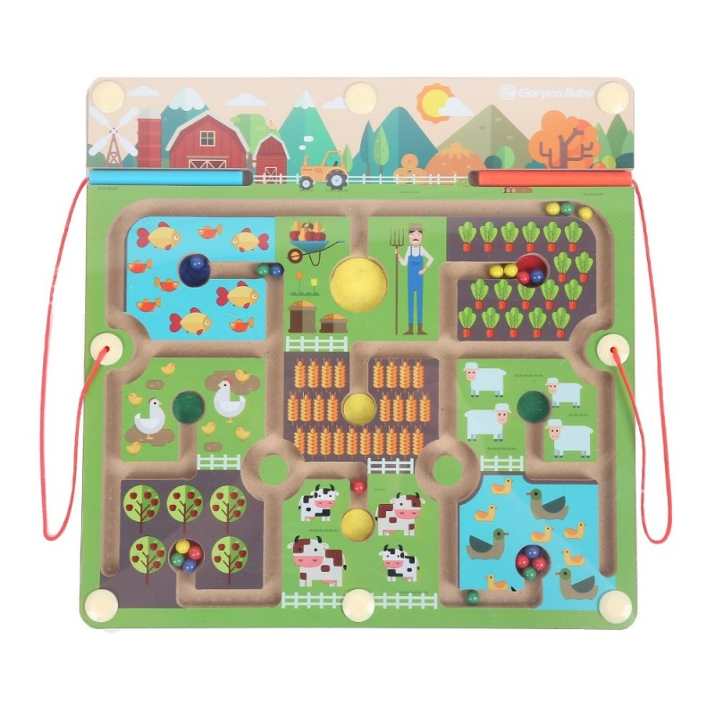 GoryeoBaby Wooden Magnetic Maze Farm Labyrinth Toy - Green - 3M74833412