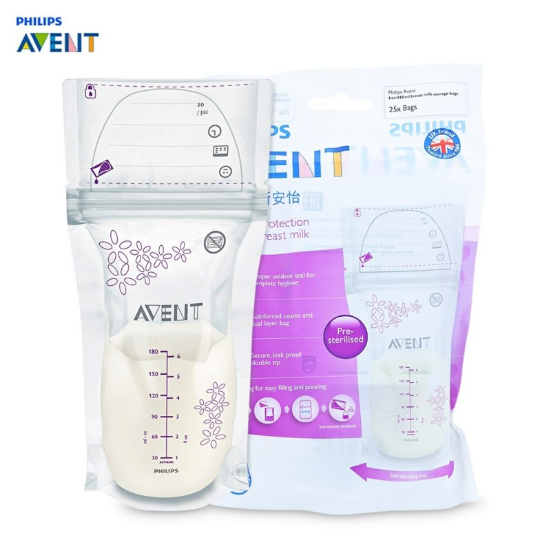 Philips Avent 25pcs Baby 6oz / 180ml Breast Milk Storage Bag - White - 3R50758912