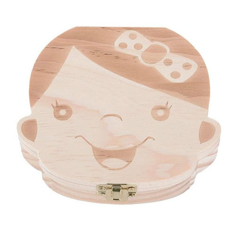 Baby Organizer Dental Teeth Box Milk Tooth Wooden Container - Wood - 3F55501213