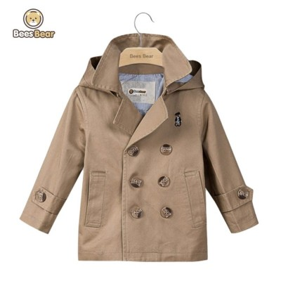 Removable Hooded Double-Breasted Trench Coat - Khaki - 2699908515