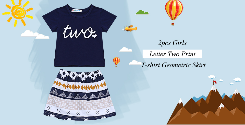 SOSOCOER Kids Letter Two Print T-shirt Geometric Skirt Outfit Child Suit