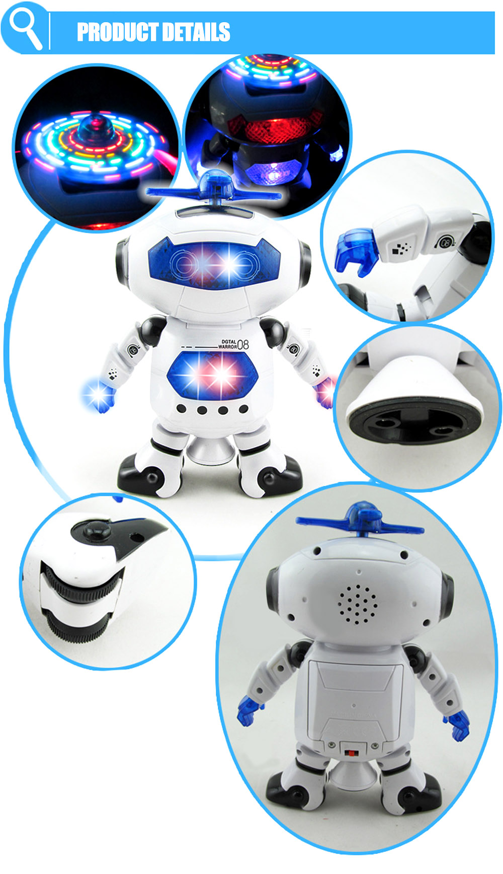 Children Electronic Walking Dancing Robot with Music Light