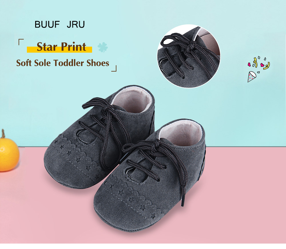 BUUF JRU Casual Star Pattern Soft Sole Skid-proof Toddler Shoes
